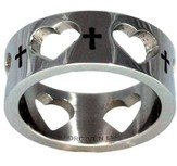 Crosses and Hearts Ring, Silver, Size 10
