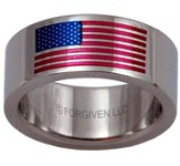 American Flag Ring, Silver, Size 7