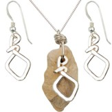 Flask Necklace & Earrings Set, Sterling Silver, 18 Inch Chain, 1-1.5 Inch Stone Size