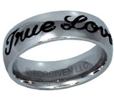 True Love Waits Text Ring, Silver and Black, Size 9