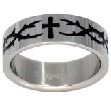 Thorns Cross Ring, Silver and Black, Size 13