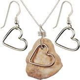 Heart Necklace & Earrings Set, Sterling Silver, 18 Inch Chain, 1-1.5 Inch Stone Size