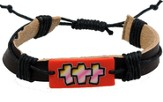 Graffitti Style Crosses Adjustable Bracelet, Red