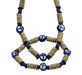 Clay Cross Necklace and Bracelet Set, Blue and Black