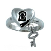 Purity Heart, Lock and Key Ring, Size 10