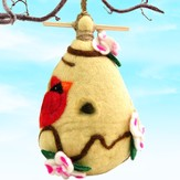 Felt Birdhouse Dogwood and Cardinal, Fair Trade Product