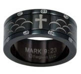 Spinner Scale Cross Ring, Black, Size 11