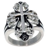 Fancy Cross Ring, Silver, Size 9