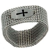 Cross Mesh Ring, Silver, Size 6