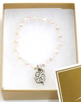 Prayer Box Cross Child Bracelet, June, Light Pink