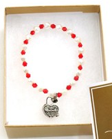 Prayer Box Cross Child Bracelet, January, July, Red