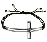 Silk Cord Side-Cross Bracelet, Black