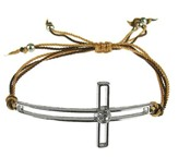 Silk Cord Side-Cross Bracelet, Brown, Tan