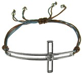 Silk Cord Side-Cross Bracelet, Brown, Blue