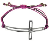 Silk Cord Side-Cross Bracelet, Purple, Hot Pink