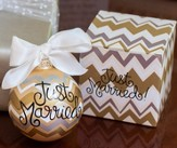 Just Married Chevron Ornament