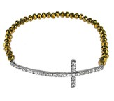 Crystal Side-Cross Bracelet, Bronze