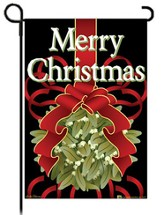 Merry Christmas Kissing Ball Flag, Garden Size