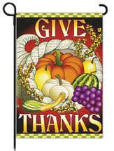 Give Thanks Cornucopia Flag, Small