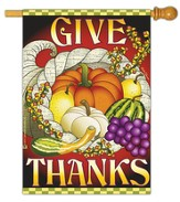 Give Thanks Cornucopia Flag, Large