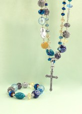 Magnetic Necklace, Blue with Cross Enhancer