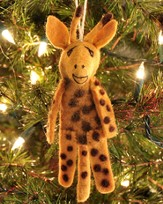 Felt Ornament Finger Puppet, Giraffe, Fair Trade Product