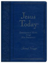 Jesus Today Large Print Deluxe Edition-soft leather- look, navy blue