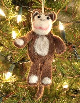 Felt Ornament Finger Puppet, Monkey, Fair Trade Product