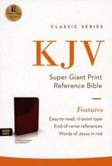 KJV Super Giant-Print Reference Bible--soft leather-look, rich rose/mahogany (indexed)