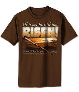 He is Risen Shirt, Brown, Large