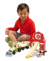 Wooden Farm and Tractor Set, 9 pieces