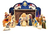 Wooden Nativity Set, with Scripture