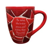 He Takes the Broken Pieces ...Mended Mug Red