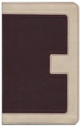 KJV UltraSlim Bible--soft leather-look, ivory/cranberry  (indexed)