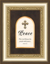 Peace Framed Art with Cross, Psalm 29:11
