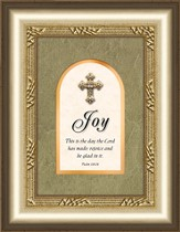 Joy Framed Art with Cross, Psalm 118:24