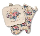 Love Among The Roses, Potholder & Oven Mitt Set