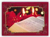 Bible With Candles, Handmade Christmas Cards, Box of 12