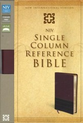 NIV Single-Column Reference Bible, Italian Duo-Tone, Burgundy