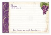 Vineyard Recipe Cards, I Am the Vine, You Are the Branches, Recipe Cards, pack of 36