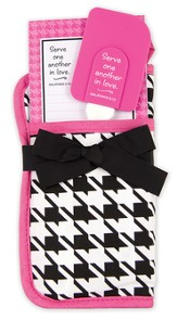 Serve One Another In Love Potholder Gift Set, Black and White Houndstooth
