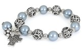 Cross ASK Filigree Stretch Bracelet, Gray