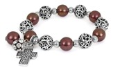 Cross ASK Filigree Stretch Bracelet, Brown