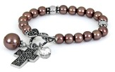 Cross ASK Toggle Stretch Bracelet, Brown
