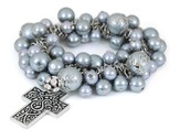Cross ASK Stretch Bracelet, Gray