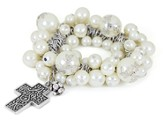 Cross ASK Stretch bracelet, White