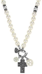 Cross ASK Toggle Necklace, White