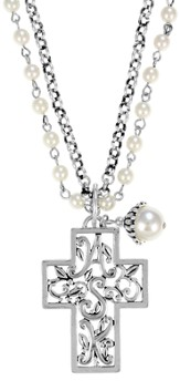 Double Chain ASK Cross Necklace, White