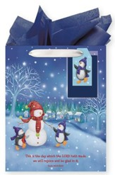 Snowmen, Gift Bag with Tissue, Psalm 118:24, Medium