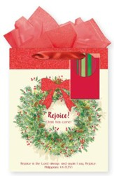 Rejoice Wreath, Gift Bag with Tissue, Philippians 4:4, Medium